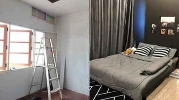 """รีวิว """"รีโนเวทห้องนอนไม้ 26 ปี"""" โทนห้องสีดำขรึมแบบโมเดิร์น"""