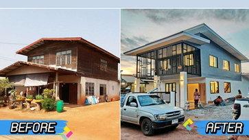 """รีโนเวทบ้านครึ่งไม้ครึ่งปูนเก่าเป็น """"บ้านสองชั้นสไตล์โมเดิร์น"""" สวยเหมือนสร้างใหม่ หรูหราน่าอยู่ทุกอณูพื้นที่"""
