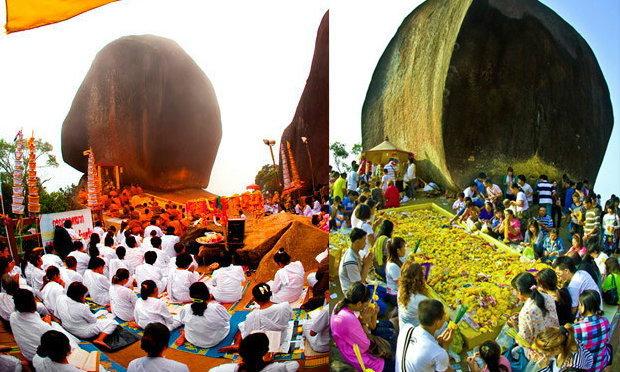 นมัสการปิดทองรอยพระพุทธบาทที่เขาคิชฌกูฏ