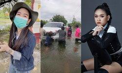 """""""เบลล์ นิภาดา"""" ระทึก! ช่วยน้ำท่วมขอนแก่น แต่น้ำทะลักเข้ารถจนชาวบ้านต้องช่วยเหลือ"""