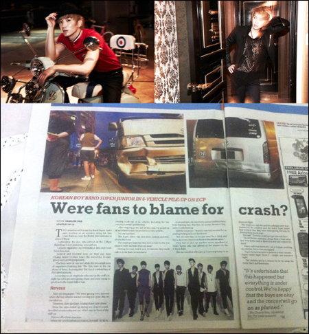 อีทึก-ฮีชอล ( SJ ) ประสบอุบัติเหตุรถชน 7 คันรวดในสิงคโปร์