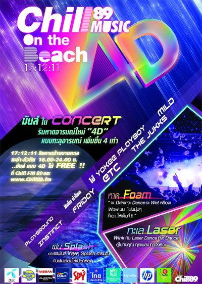 ประกาศรายชือผู้โชคดีที่ได้รับบัตรคอนเสิร์ต Chill Music on The Beach No.4D