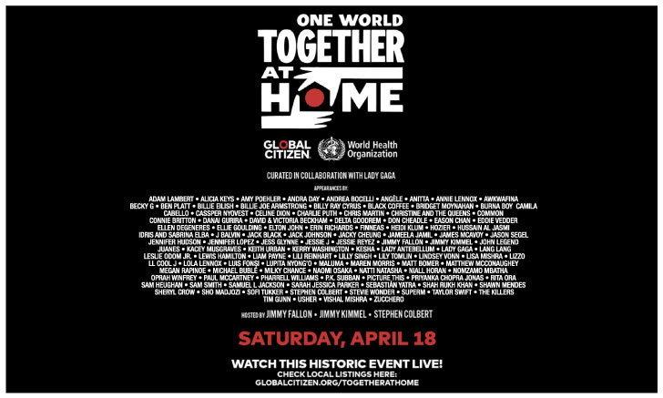 "JOOX จัดถ่ายทอดสด ""One World: Together At Home"" คอนเสิร์ตใหญ่จากศิลปินระดับโลก"