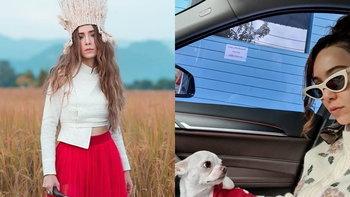 """""""ปาล์มมี่"""" ลงรูปนั่งรถกับสุนัข """"เผือก"""" น่ารักจน """"แอฟ ทักษอร"""" ต้องคอมเมนต์"""
