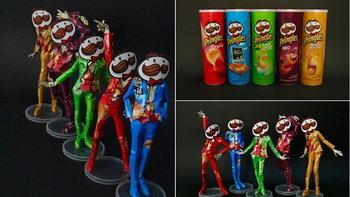 อย่างเด็ด เอากระป๋องเปล่า Pringles มาทำเป็นหุ่นโมเดล 5 สี