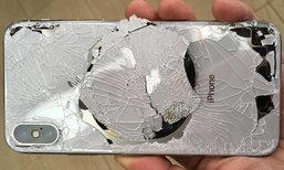 """ໃຈສະຫລາຍ! ເມື່ອ iPhone X (ເທັນ) """"ຕົກພື້ນ"""" ໂດຍທີ່ບໍ່ໄດ້ໃສ່ເຄສ"""