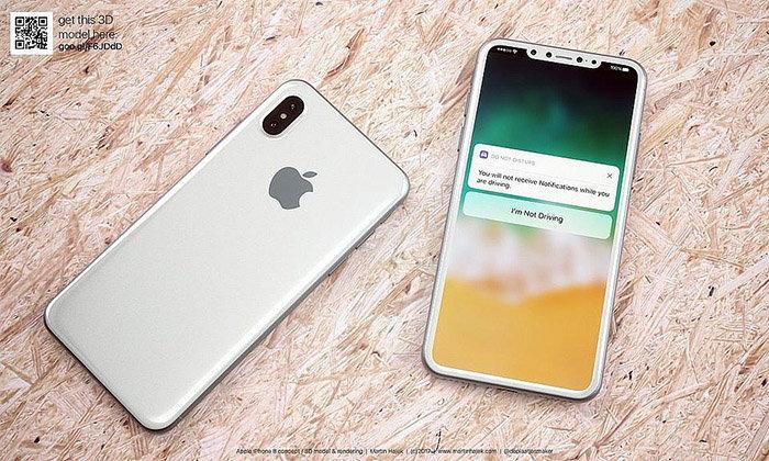 ຊົມພາບຄອນເຊັບ iPhone 8 ສີຂາວໄຮ້ປຸ່ມ Home