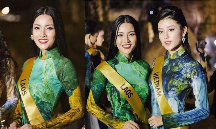 ຟ້າໃສ Miss Grand Laos ໂພສຮູບຄູ່ມິສແກຣນຫວຽດນາມ ສົ່ງພອນປີໃໝ່ຫວຽດ ແລະ ຈີນ