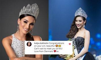"""ມິສຢູນິເວີສເດນມາກ ຮ່ວມຍິນດີກັບ """"ເມ ວິຈິດຕາ"""" ຫຼັງໄດ້ມຸງກຸດ Miss Universe Laos"""