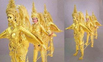 """ເຜີຍໂສມຊຸດປະຈຳຊາດ """"ທານນໍ້າໃຈສູ່ປະເທດລາວ"""" ນໍ້າໜັກ 40 ກິໂລ ຂອງ Miss Universe Laos 2018"""