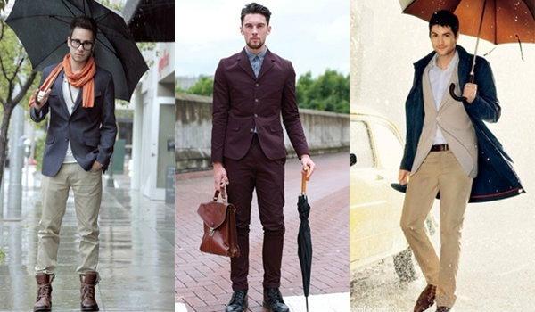แฟชั่นผู้ชายกางร่ม หล่อเท่ห์สไตล์หน้าฝน