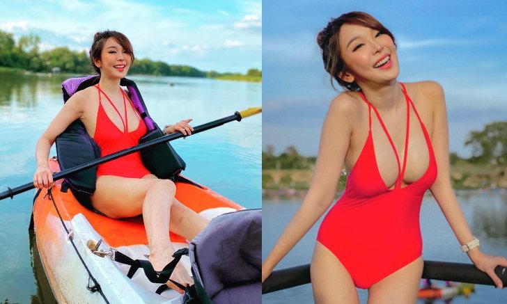 """""""หญิงแย้"""" เที่ยวกาญจนบุรี อวดความเซ็กซี่จนหลายคนตะลึง"""