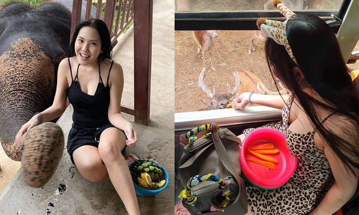 """น่ารักปนเซ็กซี่ """"บอลลูน พินทุ์สุดา"""" เที่ยวเมืองไทยอาบน้ำให้ช้างให้อาหารสัตว์"""
