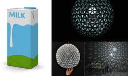 DIY : โคมไฟจากกล่องนม