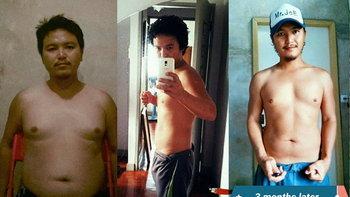 3 เดือนกับการลดน้ำหนักอย่างจริงจัง หุ่นดี หล่อเฟี้ยวขึ้นเยอะ