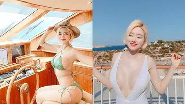 """เกาะ Ibiza ลุกเป็นไฟ """"ดีเจโซดา"""" ออกสเต็ปในชุดวันพีซสีขาว"""