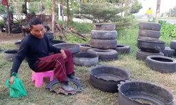 สู้ชีวิต! หนุ่มแขนลีบ ทำกระถางต้นไม้จากยางรถยนต์เก่า สร้างรายได้เลี้ยงครอบครัว