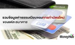 รวมข้อมูลค่าธรรมเนียมของการทำบัตรใหม่ของแต่ละธนาคาร