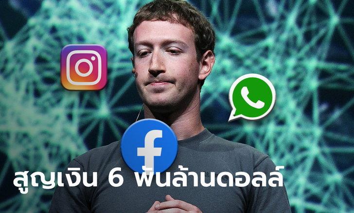 "Facebook ล่ม Instagram-WhatApp ตุ้บ! ทำ ""มาร์ค ซัคเคอร์เบิร์ก"" เงินวูบ 6 พันล้านดอลลาร์"