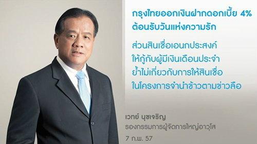 กรุงไทยยันไม่มีการปล่อยสินเชื่ออเนกประสงค์จำนำข้าวตามข่าวลือ