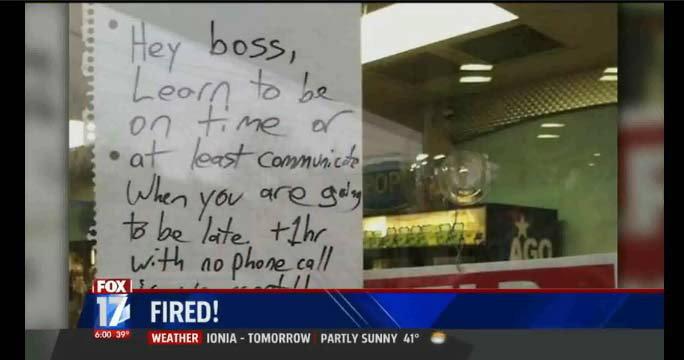 หนุ่มมะกันฟิวส์ขาด เจ้านายชอบมาสาย เขียนจดหมายด่าหน้าร้าน!!