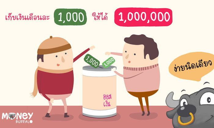 เก็บเงินเดือนละ 1,000 ให้ได้ 1 ล้าน ง่ายนิดเดียว !