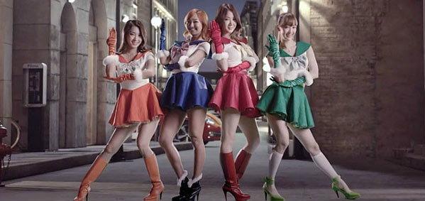 """เกิร์ลกรุ๊ปเกาหลี Sistar ยอมรับถ่ายโฆษณาเลียนแบบ """"เซเลอร์มูน"""""""