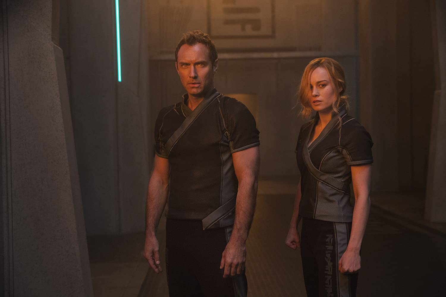 Jude Law and Brie Larson in Captain Marvel (2019)
