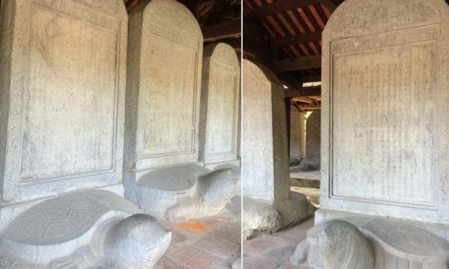 แผ่นหินแกะสลักบนหลังเต่า ที่มหา ลัยแห่งแรกของเวียดนาม