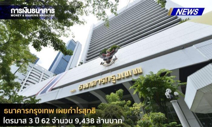 ธนาคารกรุงเทพรายงานกำไรสุทธิไตรมาส 3 ปี 2562 จำนวน 9,438 ล้านบาท