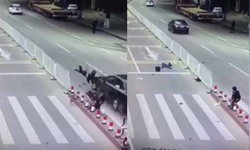 สะพรึง! เด็กจีนยืนช็อก หลังรถชนคนกระเด็นพุ่งเฉียดหลังแบบเผาขน