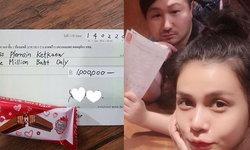 ออม บลูเบอร์รี่ แอบน้อยใจแฟนไม่ให้ของขวัญ สุดช็อกเจอเช็คหนึ่งล้าน