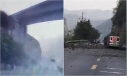 คลิประทึก หินถล่มใส่ถนนที่จีน ทับรถสองคันพังเสียหาย