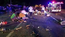 อุทาหรณ์! แว้น 5 คัน หมอบรถซิ่งกลางดึก พุ่งชนกระบะ ตาย 4 เจ็บ 3