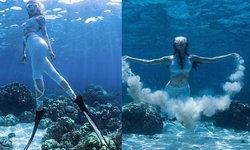 """""""เกรซ กาญจน์เกล้า"""" โชว์สกิลเทพ ดำน้ำแบบ Free Diving อวดความเซ็กซี่ใต้ทะเล"""