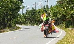 หนุ่มใหญ่สู้ชีวิต ปั่นจักรยานขายของชำทั่วประเทศ