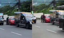 ตำรวจจราจรพัทยา เปิดใจ ถีบรถแท็กซี่ เพราะป้องกันตัวจากการถูกชน