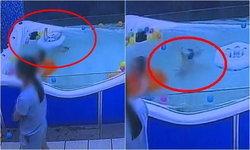 เผยคลิปน่าตกใจ เด็กชายวัย 7 เดือน ตัวหลุดจากห่วงยาง จมใต้น้ำเกือบนาที