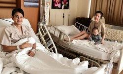 """หัวอกพ่อแม่ """"กัปตัน-เอ้ก"""" กระเตงลูกนอนโรงพยาบาล แม้ป่วยแพ็คคู่"""