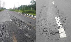ชาวบ้านบ่นเสียดายภาษี  งบสร้างถนนเกือบ 500 ล้าน ใช้งาน 2 เดือนพัง