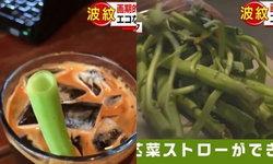 """ทีวีญี่ปุ่นยกนิ้ว! ร้านกาแฟไทยไอเดียเริ่ด ใช้ """"ก้านผักบุ้ง"""" แทนหลอดดูด ลดโลกร้อน"""
