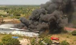 ไฟไหม้โกดังกระเป๋าส่งออก-ประเมินความเสียหายกว่า 10 ล้านบาท
