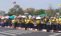 ประชาชนใส่เสื้อเหลือง เริ่มจับจองพื้นที่รอเฝ้าฯ ในหลวง เสด็จออก ณ สีหบัญชร