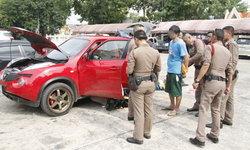 ตำรวจอยุธยาตั้งด่านสกัดจับหนุ่มขับรถเก๋งซุกยาบ้า-ไอซ์ อาวุธปืนเต็มคันรถ