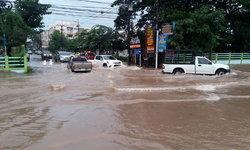 """""""บารีจัต"""" ทำพิษ! อำนาจเจริญฝนตกหนัก เขตเทศบาลเมืองน้ำท่วมสูงหลายจุด"""