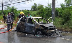 สาวสุดงง-ขับออกจากร้านซ่อมเครื่องเสียงไม่ทันไร ไฟลุกท่วมรถ เกือบโดนย่างสด!
