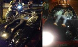 ดับสยอง สาวพม่าตัดหน้ารถเก๋ง ถูกชนร่างทะลุกระจก