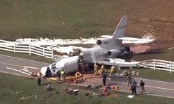 สลด! เครื่องบินเจ็ทไถลชนรั้วรันเวย์ ขาดสองท่อน ตาย 2 เจ็บ 2 ในสหรัฐฯ
