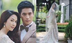 """มาแล้วโรแมนติกมาก """"ยุ้ย-ธัญญ์"""" ในชุดแต่งงานงดงามอลังการที่สุด"""