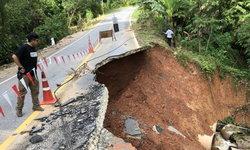 ขับผ่านต้องระวัง-เส้นทางเข้าบ้านจุฬาภรณ์ 10 ดินสไลด์ลึกลงไปในเหวกว่า 6 เมตร